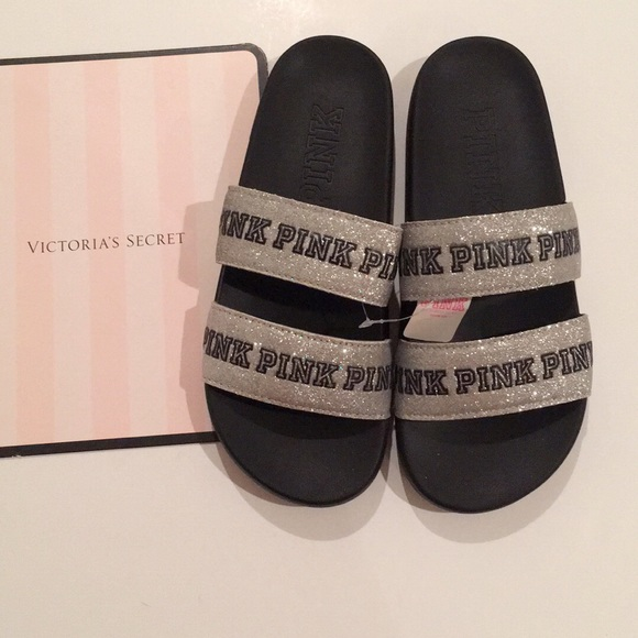 2f8b44052e481e VS PINK Bling double Slides Sandals. NWT. PINK Victoria s Secret